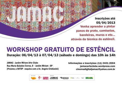 Dias 6 e 7 de abril das 10 às 14h workshop gratuito de estêncil no JAMAC, participe!